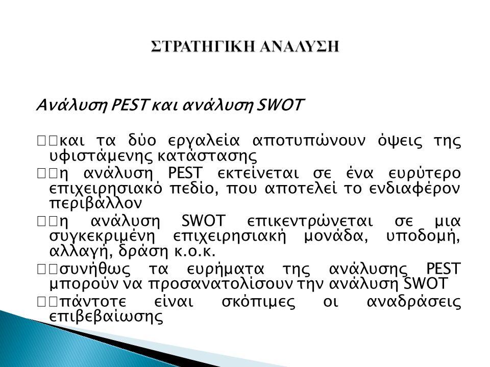 Ανάλυση PEST και ανάλυση SWOT και τα δύο εργαλεία αποτυπώνουν όψεις της υφιστάμενης κατάστασης η ανάλυση PEST εκτείνεται σε ένα ευρύτερο επιχειρησιακό