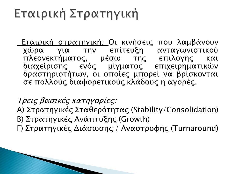 Εταιρική στρατηγική: Οι κινήσεις που λαμβάνουν χώρα για την επίτευξη ανταγωνιστικού πλεονεκτήματος, μέσω της επιλογής και διαχείρισης ενός μίγματος επ