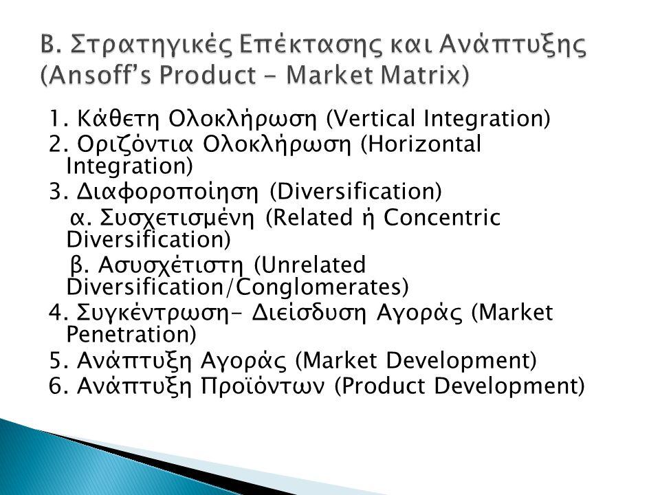 1. Κάθετη Ολοκλήρωση (Vertical Integration) 2. Οριζόντια Ολοκλήρωση (Horizontal Integration) 3. Διαφοροποίηση (Diversification) α. Συσχετισμένη (Relat