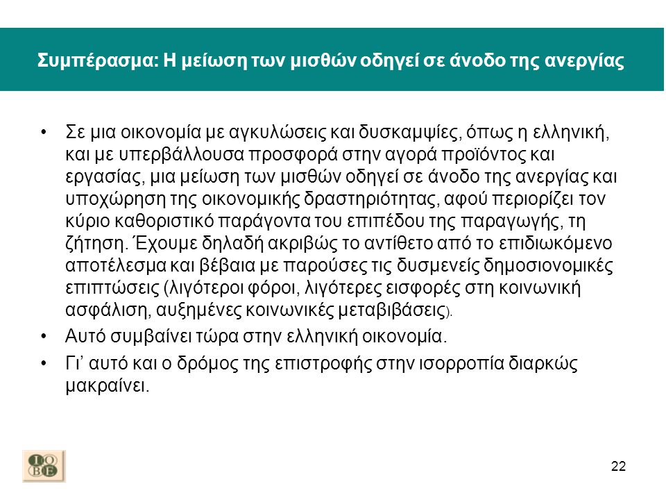 Συμπέρασμα: Η μείωση των μισθών οδηγεί σε άνοδο της ανεργίας •Σε μια οικονομία με αγκυλώσεις και δυσκαμψίες, όπως η ελληνική, και με υπερβάλλουσα προσ
