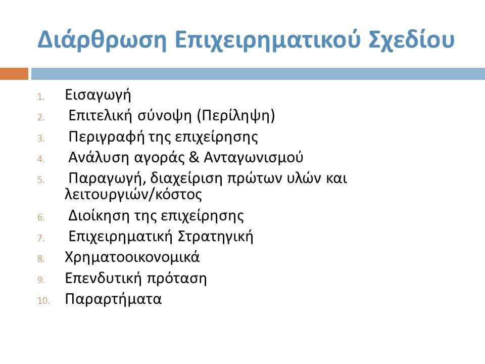 Διάρθρωση Επιχειρηματικού Σχεδίου 1.Εισαγωγή 2. Επιτελική σύνοψη ( Περίληψη ) 3.