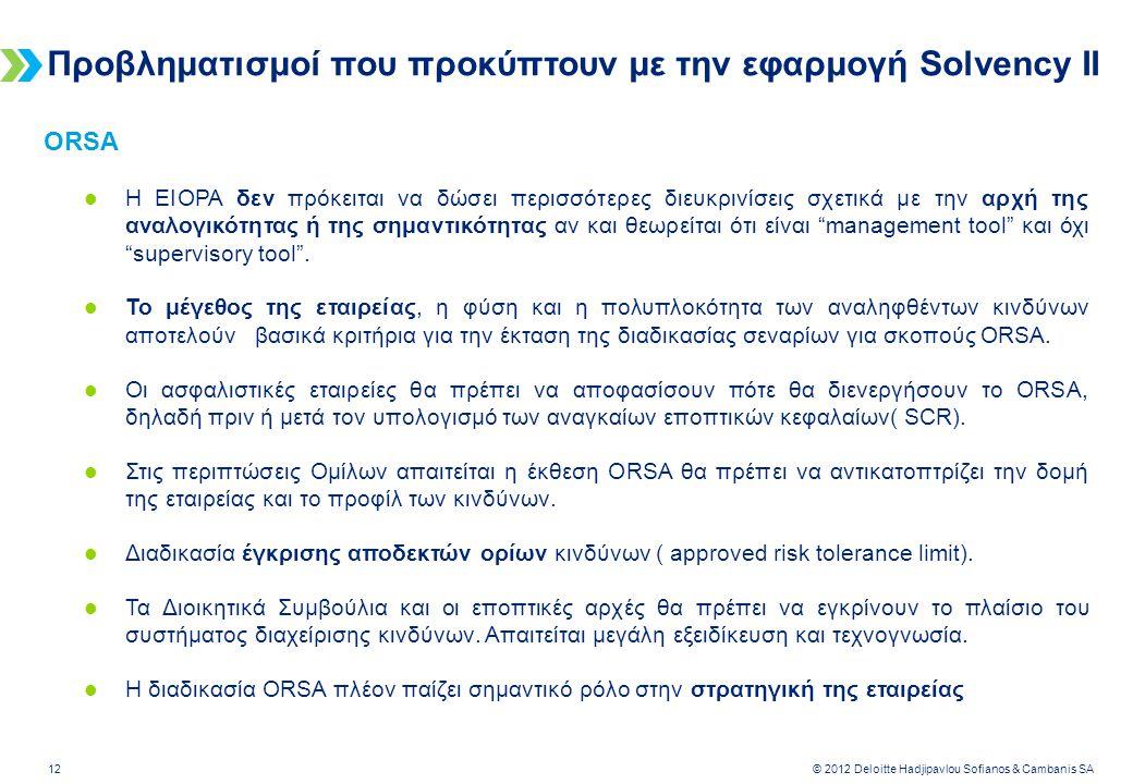 Deloitte-LBG UK screen 4:3 (19.05 cm x 25.40 cm) 12 © 2012 Deloitte Hadjipavlou Sofianos & Cambanis SA Προβληματισμοί που προκύπτουν με την εφαρμογή Solvency II ORSA  H EIOPA δεν πρόκειται να δώσει περισσότερες διευκρινίσεις σχετικά με την αρχή της αναλογικότητας ή της σημαντικότητας αν και θεωρείται ότι είναι management tool και όχι supervisory tool .