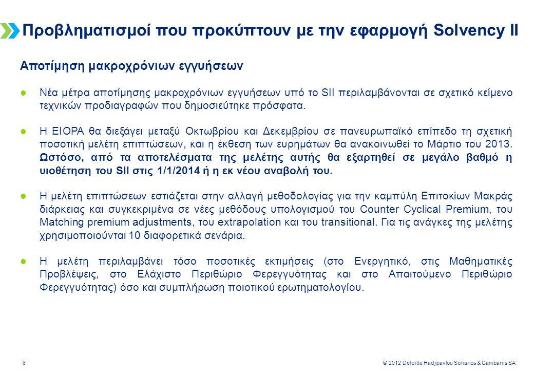 Deloitte-LBG UK screen 4:3 (19.05 cm x 25.40 cm) 8 © 2012 Deloitte Hadjipavlou Sofianos & Cambanis SA Προβληματισμοί που προκύπτουν με την εφαρμογή Solvency II Αποτίμηση μακροχρόνιων εγγυήσεων  Νέα μέτρα αποτίμησης μακροχρόνιων εγγυήσεων υπό το SII περιλαμβάνονται σε σχετικό κείμενο τεχνικών προδιαγραφών που δημοσιεύτηκε πρόσφατα.