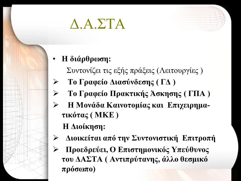 Δ.Α.ΣΤΑ •Η διάρθρωση: Συντονίζει τις εξής πράξεις (Λειτουργίες )  Το Γραφείο Διασύνδεσης ( ΓΔ )  Το Γραφείο Πρακτικής Άσκησης ( ΓΠΑ )  Η Μονάδα Καινοτομίας και Επιχειρημα- τικότας ( ΜΚΕ ) Η Διοίκηση:  Διοικείται από την Συντονιστική Επιτροπή  Προεδρεύει, Ο Επιστημονικός Υπεύθυνος του ΔΑΣΤΑ ( Αντιπρύτανης, άλλο θεσμικό πρόσωπο)