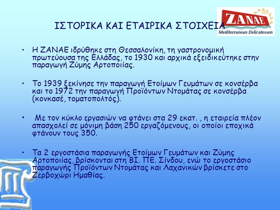 ΙΣΤΟΡΙΚΑ ΚΑΙ ΕΤΑΙΡΙΚΑ ΣΤΟΙΧΕΙΑ •Η ΖΑΝΑΕ ιδρύθηκε στη Θεσσαλονίκη, τη γαστρονομική πρωτεύουσα της Ελλάδας, το 1930 και αρχικά εξειδικεύτηκε στην παραγωγή Ζύμης Αρτοποιίας.