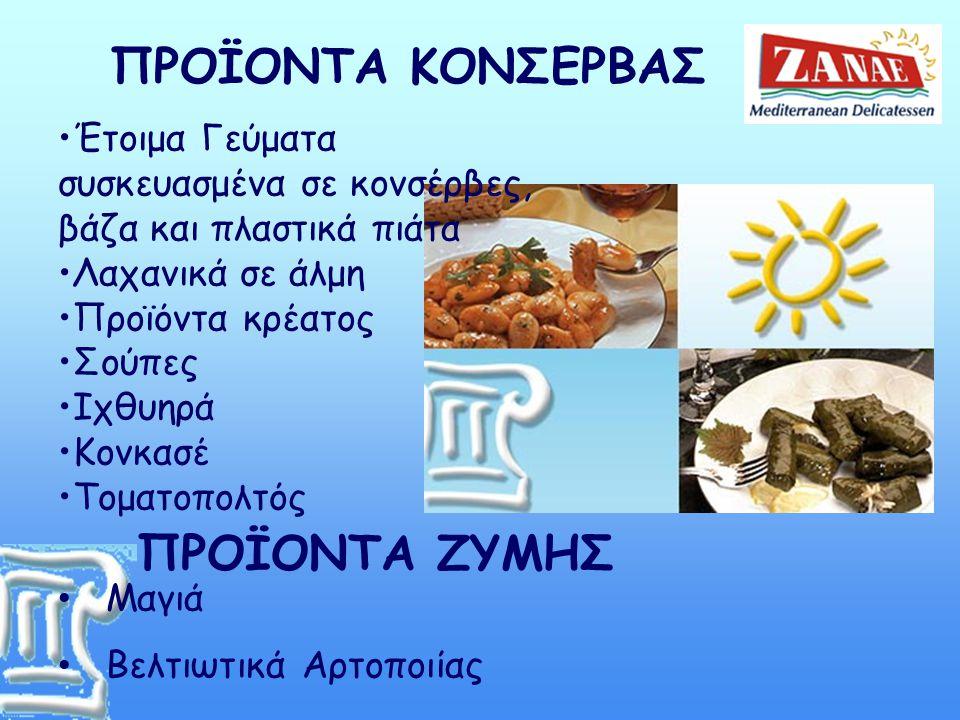 •Έτοιμα Γεύματα συσκευασμένα σε κονσέρβες, βάζα και πλαστικά πιάτα •Λαχανικά σε άλμη •Προϊόντα κρέατος •Σούπες •Ιχθυηρά •Κονκασέ •Τοματοπολτός • Μαγιά • Βελτιωτικά Αρτοποιίας ΠΡΟΪΟΝΤΑ ΚΟΝΣΕΡΒΑΣ ΠΡΟΪΟΝΤΑ ΖΥΜΗΣ