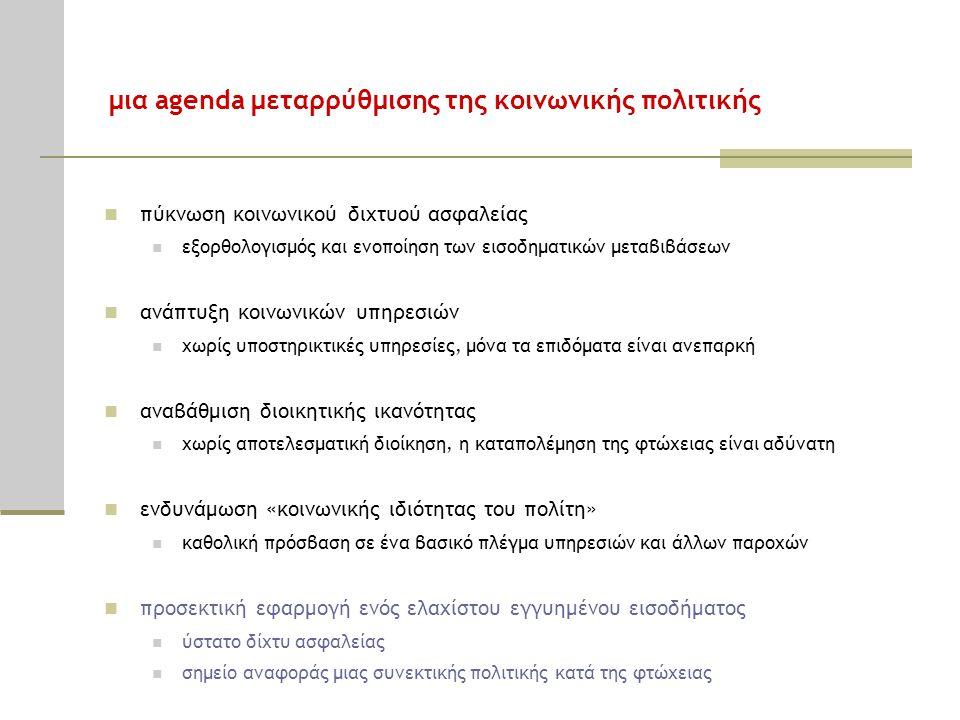 μια agenda μεταρρύθμισης της κοινωνικής πολιτικής  πύκνωση κοινωνικού διχτυού ασφαλείας  εξορθολογισμός και ενοποίηση των εισοδηματικών μεταβιβάσεων