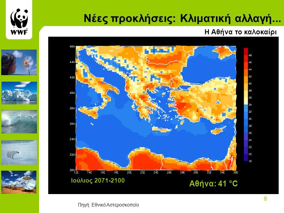 6 Ιούλιος 2071-2100 Αθήνα: 41 °C Νέες προκλήσεις: Κλιματική αλλαγή...