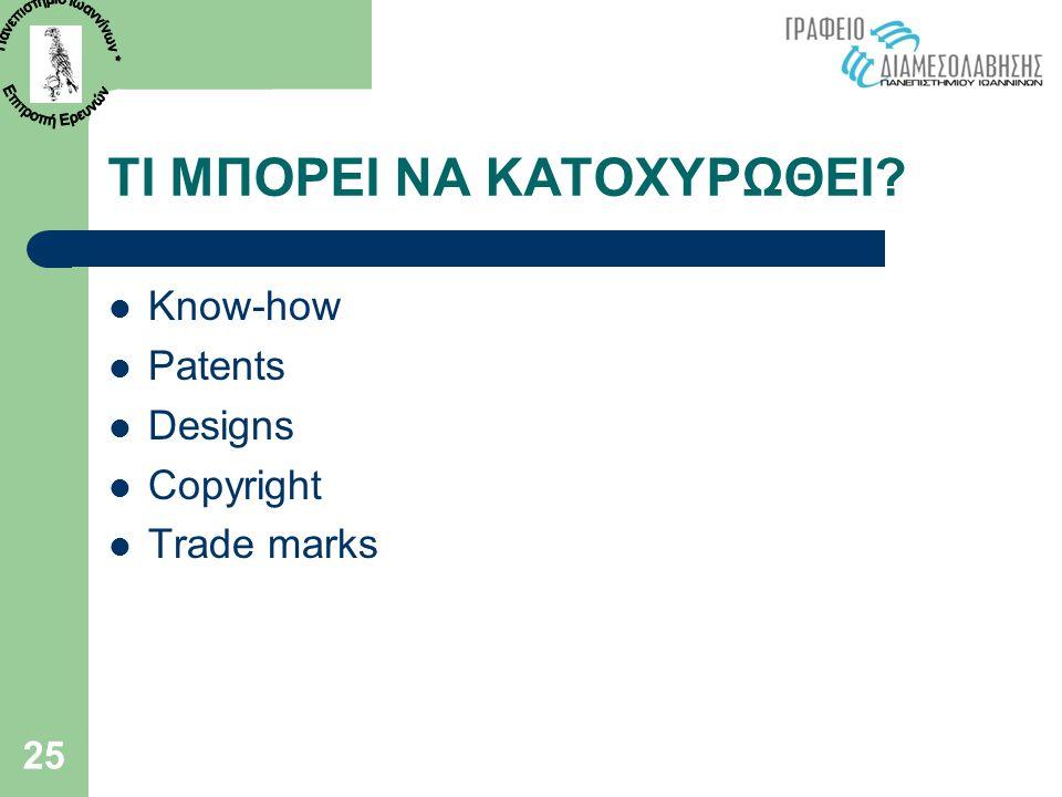 25 ΤΙ ΜΠΟΡΕΙ ΝΑ ΚΑΤΟΧΥΡΩΘΕΙ?  Know-how  Patents  Designs  Copyright  Trade marks