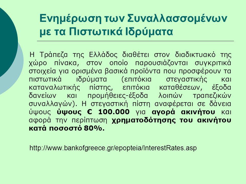 Ενημέρωση των Συναλλασσομένων με τα Πιστωτικά Ιδρύματα Η Τράπεζα της Ελλάδος διαθέτει στον διαδικτυακό της χώρο πίνακα, στον οποίο παρουσιάζονται συγκριτικά στοιχεία για ορισμένα βασικά προϊόντα που προσφέρουν τα πιστωτικά ιδρύματα (επιτόκια στεγαστικής και καταναλωτικής πίστης, επιτόκια καταθέσεων, έξοδα δανείων και προμήθειες-έξοδα λοιπών τραπεζικών συναλλαγών).