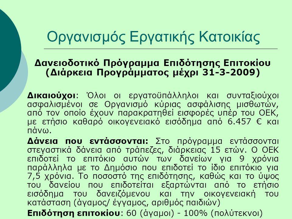 Οργανισμός Εργατικής Κατοικίας Δανειοδοτικό Πρόγραμμα Επιδότησης Επιτοκίου (Διάρκεια Προγράμματος μέχρι 31-3-2009) Δικαιούχοι: Όλοι οι εργατοϋπάλληλοι και συνταξιούχοι ασφαλισμένοι σε Οργανισμό κύριας ασφάλισης μισθωτών, από τον οποίο έχουν παρακρατηθεί εισφορές υπέρ του ΟΕΚ, με ετήσιο καθαρό οικογενειακό εισόδημα από 6.457 € και πάνω.