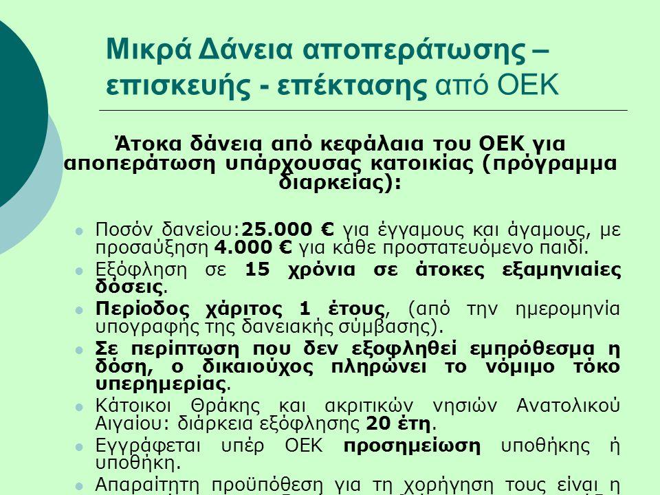 Μικρά Δάνεια αποπεράτωσης – επισκευής - επέκτασης από ΟΕΚ Άτοκα δάνεια από κεφάλαια του ΟΕΚ για αποπεράτωση υπάρχουσας κατοικίας (πρόγραμμα διαρκείας):  Ποσόν δανείου:25.000 € για έγγαμους και άγαμους, με προσαύξηση 4.000 € για κάθε προστατευόμενο παιδί.