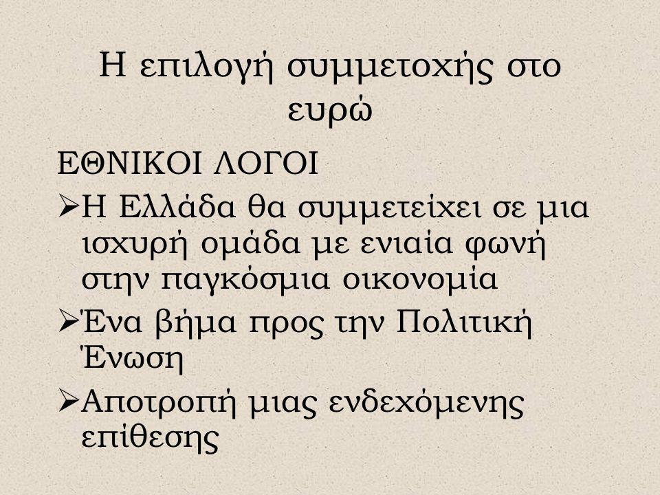 Η επιλογή συμμετοχής στο ευρώ ΕΘΝΙΚΟΙ ΛΟΓΟΙ  Η Ελλάδα θα συμμετείχει σε μια ισχυρή ομάδα με ενιαία φωνή στην παγκόσμια οικονομία  Ένα βήμα προς την