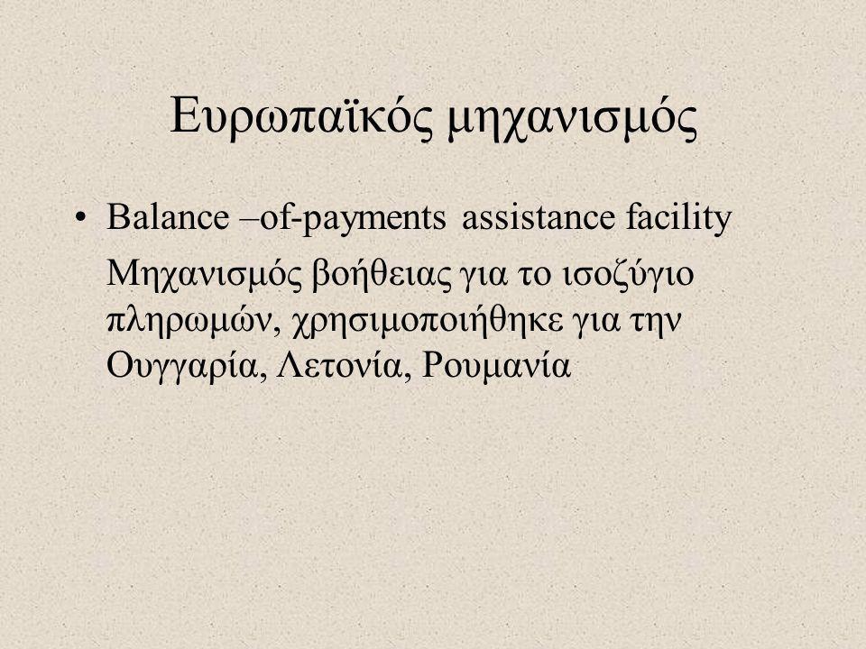 Ευρωπαϊκός μηχανισμός •Balance –of-payments assistance facility Μηχανισμός βοήθειας για το ισοζύγιο πληρωμών, χρησιμοποιήθηκε για την Ουγγαρία, Λετονί