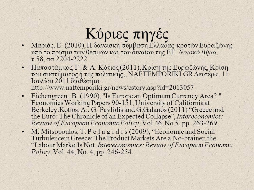 Κύριες πηγές •Μαριάς, Ε. (2010), Η δανειακή σύμβαση Ελλάδας-κρατών Ευρωζώνης υπό το πρίσμα των θεσμών και του δικαίου της ΕΕ. Νομικό Βήμα, τ.58, σσ 22
