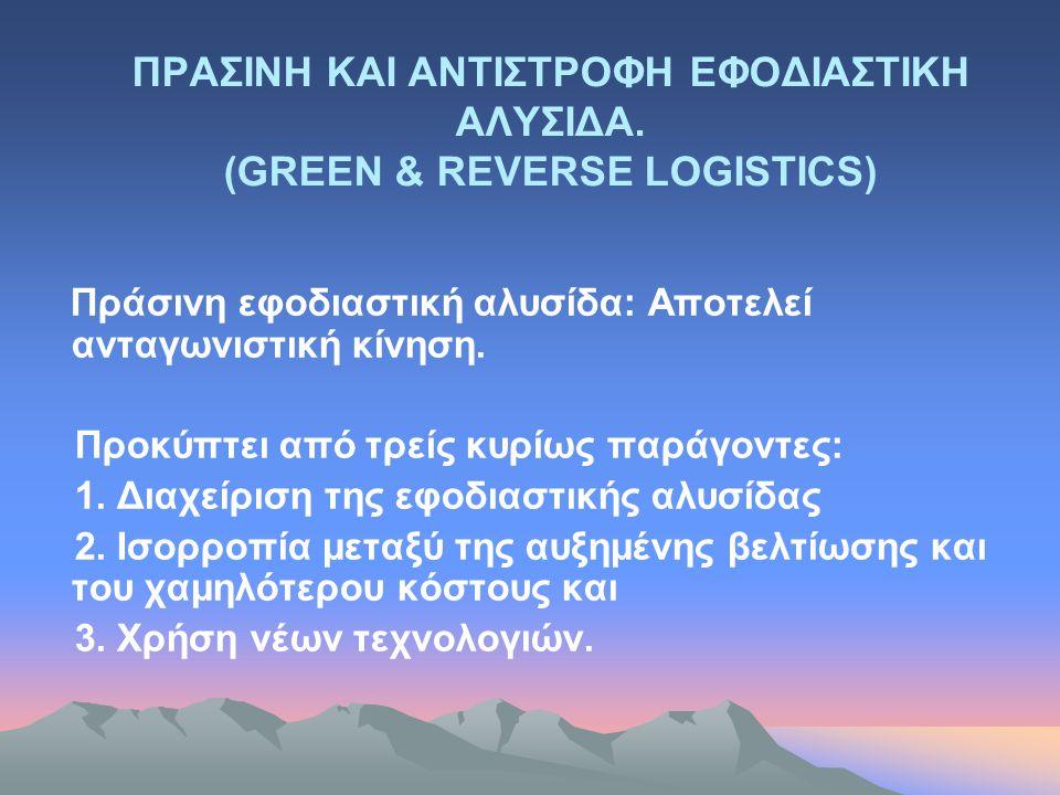 ΠΡΑΣΙΝΗ ΚΑΙ ΑΝΤΙΣΤΡΟΦΗ ΕΦΟΔΙΑΣΤΙΚΗ ΑΛΥΣΙΔΑ. (GREEN & REVERSE LOGISTICS) Πράσινη εφοδιαστική αλυσίδα: Aποτελεί ανταγωνιστική κίνηση. Προκύπτει από τρεί