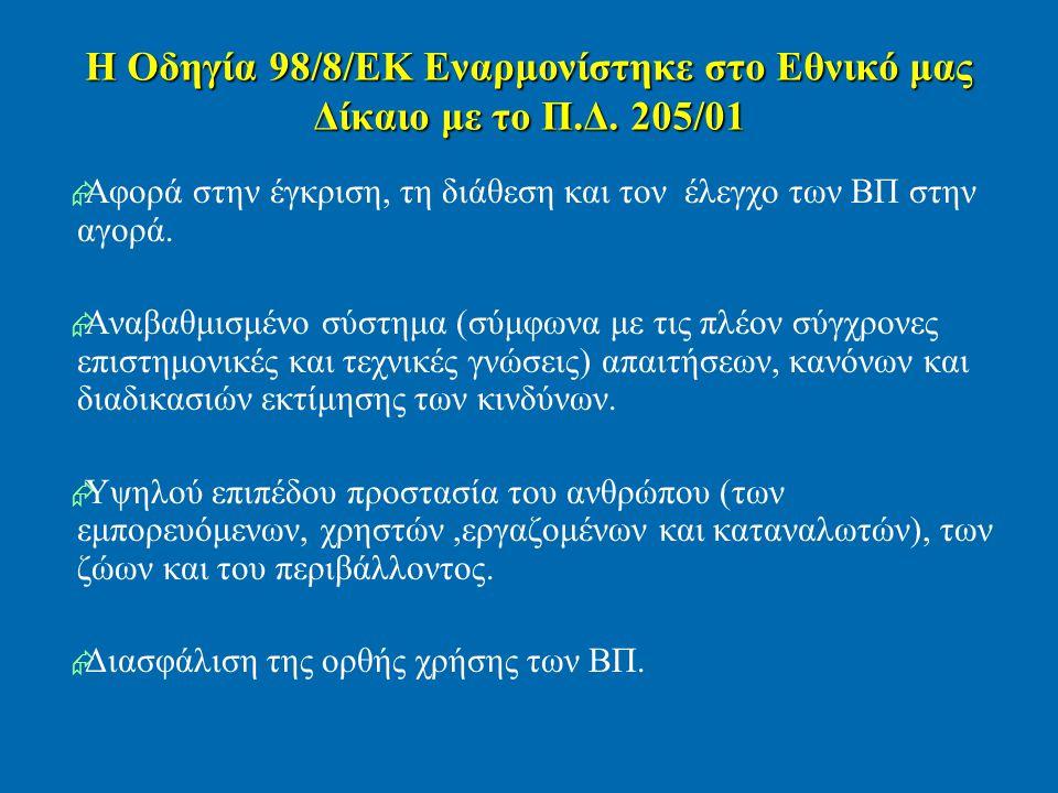 Η Οδηγία 98/8/ΕΚ Εναρμονίστηκε στο Εθνικό μας Δίκαιο με το Π.Δ. 205/01   Αφορά στην έγκριση, τη διάθεση και τον έλεγχο των ΒΠ στην αγορά.   Αναβαθ