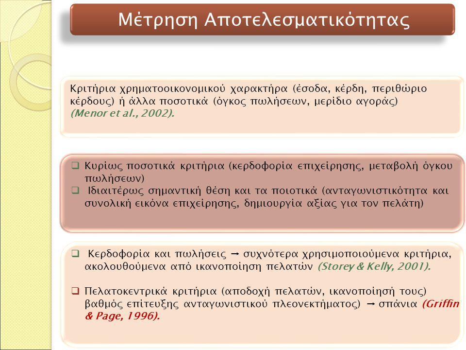 Κριτήρια χρηματοοικονομικού χαρακτήρα (έσοδα, κέρδη, περιθώριο κέρδους) ή άλλα ποσοτικά (όγκος πωλήσεων, μερίδιο αγοράς) (Menor et al., 2002).