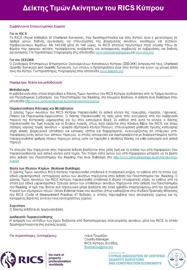 Δείκτης Τιμών Ακίνητων του RICS Κύπρου Συμβάλλοντα Επαγγελματικά Σώματα Για το RICS Το RICS (Royal Institution of Chartered Surveyors), που δραστηριοπ