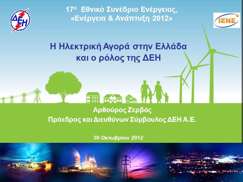 Public Power Corporation SA Corporate Presentation November 2010 17 ο Εθνικό Συνέδριο Ενέργειας, «Ενέργεια & Ανάπτυξη 2012» Αρθούρος Ζερβός Πρόεδρος και Διευθύνων Σύμβουλος ΔΕΗ Α.Ε.