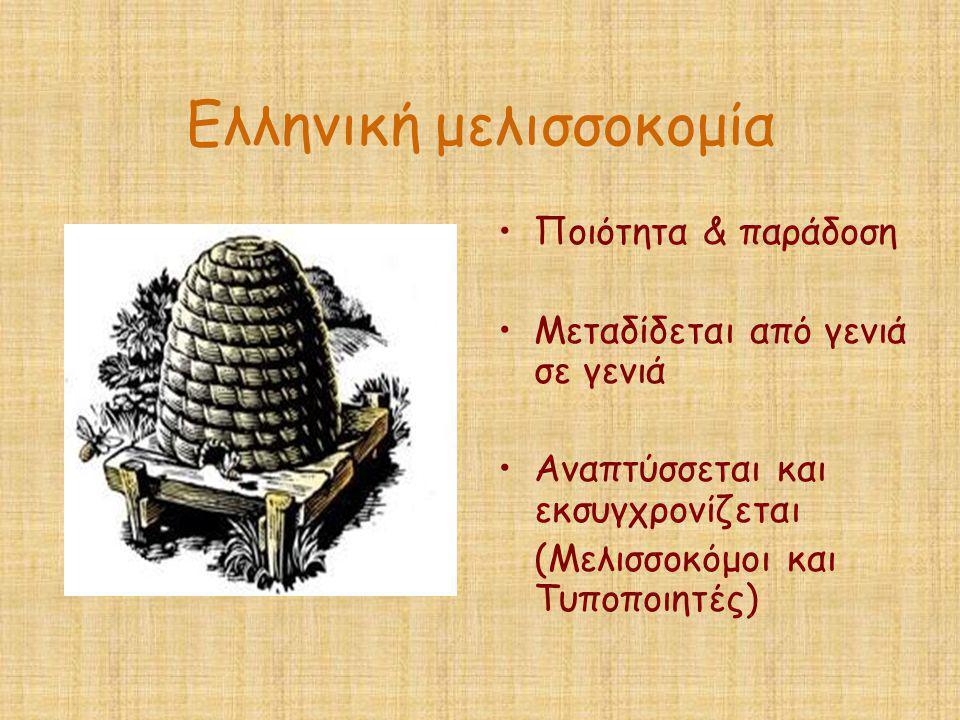 Ελληνική μελισσοκομία •Ποιότητα & παράδοση •Μεταδίδεται από γενιά σε γενιά •Αναπτύσσεται και εκσυγχρονίζεται (Μελισσοκόμοι και Τυποποιητές)