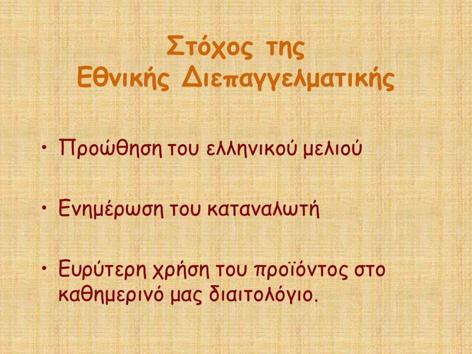 Στόχος της Εθνικής Διεπαγγελματικής •Προώθηση του ελληνικού μελιού •Ενημέρωση του καταναλωτή •Ευρύτερη χρήση του προϊόντος στο καθημερινό μας διαιτολό