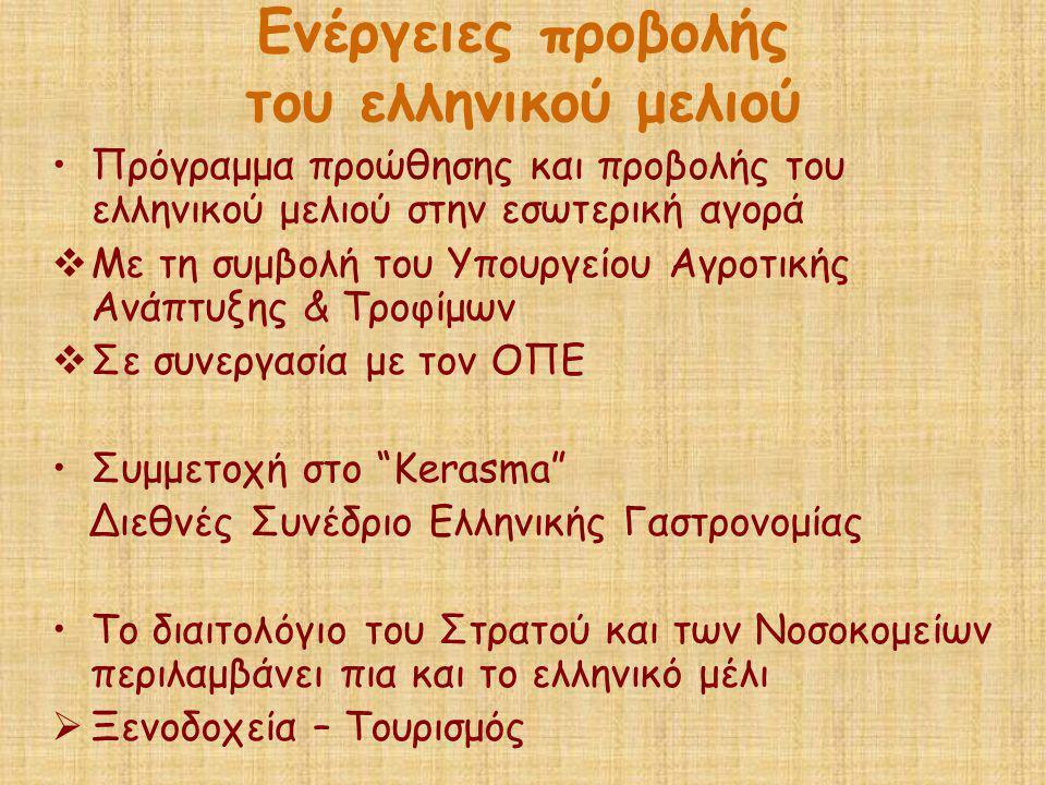 Ενέργειες προβολής του ελληνικού μελιού •Πρόγραμμα προώθησης και προβολής του ελληνικού μελιού στην εσωτερική αγορά  Με τη συμβολή του Υπουργείου Αγρ