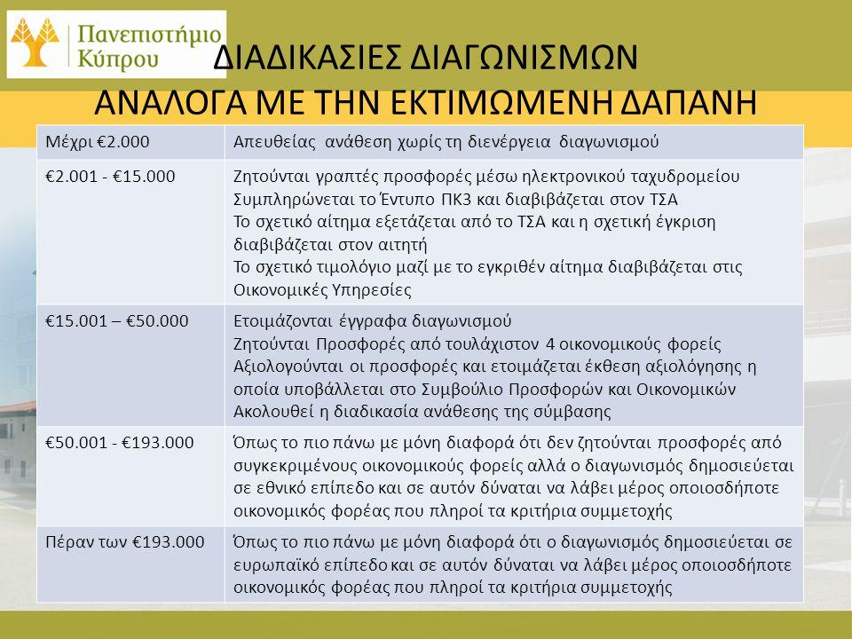 ΔΙΑΔΙΚΑΣΙΕΣ ΔΙΑΓΩΝΙΣΜΩΝ ΑΝΑΛΟΓΑ ΜΕ ΤΗΝ ΕΚΤΙΜΩΜΕΝΗ ΔΑΠΑΝΗ Μέχρι €2.000Απευθείας ανάθεση χωρίς τη διενέργεια διαγωνισμού €2.001 - €15.000Ζητούνται γραπτές προσφορές μέσω ηλεκτρονικού ταχυδρομείου Συμπληρώνεται το Έντυπο ΠΚ3 και διαβιβάζεται στον ΤΣΑ Το σχετικό αίτημα εξετάζεται από το ΤΣΑ και η σχετική έγκριση διαβιβάζεται στον αιτητή Το σχετικό τιμολόγιο μαζί με το εγκριθέν αίτημα διαβιβάζεται στις Οικονομικές Υπηρεσίες €15.001 – €50.000Ετοιμάζονται έγγραφα διαγωνισμού Ζητούνται Προσφορές από τουλάχιστον 4 οικονομικούς φορείς Αξιολογούνται οι προσφορές και ετοιμάζεται έκθεση αξιολόγησης η οποία υποβάλλεται στο Συμβούλιο Προσφορών και Οικονομικών Ακολουθεί η διαδικασία ανάθεσης της σύμβασης €50.001 - €193.000Όπως το πιο πάνω με μόνη διαφορά ότι δεν ζητούνται προσφορές από συγκεκριμένους οικονομικούς φορείς αλλά ο διαγωνισμός δημοσιεύεται σε εθνικό επίπεδο και σε αυτόν δύναται να λάβει μέρος οποιοσδήποτε οικονομικός φορέας που πληροί τα κριτήρια συμμετοχής Πέραν των €193.000Όπως το πιο πάνω με μόνη διαφορά ότι ο διαγωνισμός δημοσιεύεται σε ευρωπαϊκό επίπεδο και σε αυτόν δύναται να λάβει μέρος οποιοσδήποτε οικονομικός φορέας που πληροί τα κριτήρια συμμετοχής
