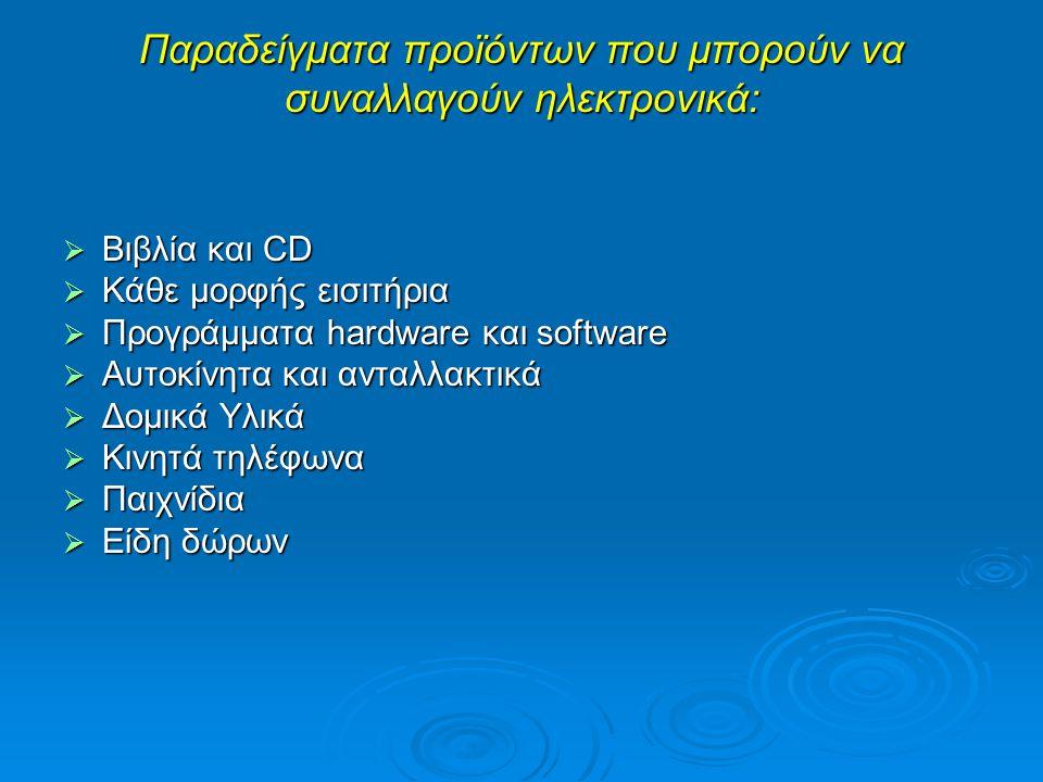 Παραδείγματα προϊόντων που μπορούν να συναλλαγούν ηλεκτρονικά:  Βιβλία και CD  Κάθε μορφής εισιτήρια  Προγράμματα hardware και software  Αυτοκίνητ