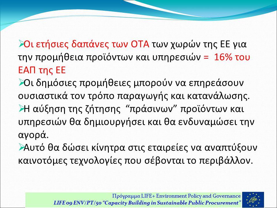  Οι ετήσιες δαπάνες των ΟΤΑ των χωρών της ΕΕ για την προμήθεια προϊόντων και υπηρεσιών = 16% του ΕΑΠ της ΕΕ  Οι δημόσιες προμήθειες μπορούν να επηρεάσουν ουσιαστικά τον τρόπο παραγωγής και κατανάλωσης.