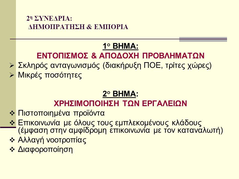 9 η ΣΥΝΕΔΡΙΑ: ΔΙΕΠΑΓΓΕΛΜΑΤΙΚΕΣ ΟΡΓΑΝΩΣΕΙΣ ΟΜΑΔΕΣ ΠΑΡΑΓΩΓΩΝ Στην Ελλάδα έχουμε το μικρότερο ποσοστό δημιουργίας ομάδων παραγωγών σε σχέση με τις χώρες τις Ε.Ε.