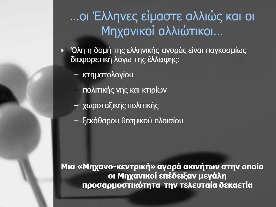…οι Έλληνες είμαστε αλλιώς και οι Μηχανικοί αλλιώτικοι… •Όλη η δομή της ελληνικής αγοράς είναι παγκοσμίως διαφορετική λόγω της έλλειψης: –κτηματολογίου –πολιτικής γης και κτιρίων –χωροταξικής πολιτικής –ξεκάθαρου θεσμικού πλαισίου Μια «Μηχανο-κεντρική» αγορά ακινήτων στην οποία οι Μηχανικοί επέδειξαν μεγάλη προσαρμοστικότητα την τελευταία δεκαετία