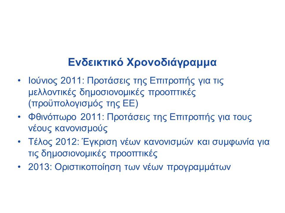 Ενδεικτικό Χρονοδιάγραμμα •Ιούνιος 2011: Προτάσεις της Επιτροπής για τις μελλοντικές δημοσιονομικές προοπτικές (προϋπολογισμός της ΕΕ) •Φθινόπωρο 2011: Προτάσεις της Επιτροπής για τους νέους κανονισμούς •Τέλος 2012: Έγκριση νέων κανονισμών και συμφωνία για τις δημοσιονομικές προοπτικές •2013: Οριστικοποίηση των νέων προγραμμάτων