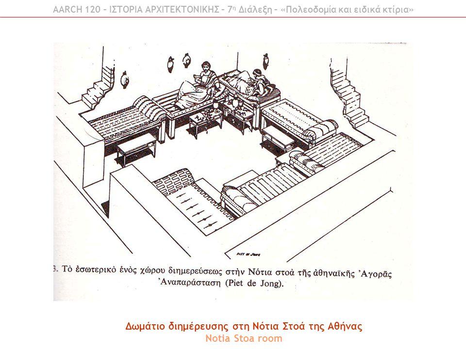 AARCH 120 – ΙΣΤΟΡΙΑ ΑΡΧΙΤΕΚΤΟΝΙΚΗΣ – 7 η Διάλεξη – «Πολεοδομία και ειδικά κτίρια» Δωμάτιο διημέρευσης στη Νότια Στοά της Αθήνας Notia Stoa room