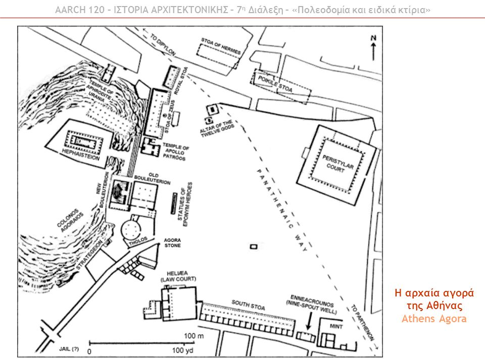AARCH 120 – ΙΣΤΟΡΙΑ ΑΡΧΙΤΕΚΤΟΝΙΚΗΣ – 7 η Διάλεξη – «Πολεοδομία και ειδικά κτίρια» H αρχαία αγορά της Αθήνας Athens Agora