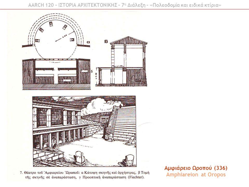 AARCH 120 – ΙΣΤΟΡΙΑ ΑΡΧΙΤΕΚΤΟΝΙΚΗΣ – 7 η Διάλεξη – «Πολεοδομία και ειδικά κτίρια» Αμφιάρειο Ωροπού (336) Amphiareion at Oropos