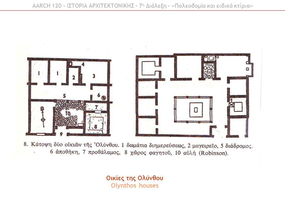 AARCH 120 – ΙΣΤΟΡΙΑ ΑΡΧΙΤΕΚΤΟΝΙΚΗΣ – 7 η Διάλεξη – «Πολεοδομία και ειδικά κτίρια» Οικίες της Ολύνθου Olynthos houses