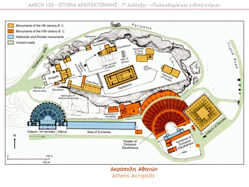 AARCH 120 – ΙΣΤΟΡΙΑ ΑΡΧΙΤΕΚΤΟΝΙΚΗΣ – 7 η Διάλεξη – «Πολεοδομία και ειδικά κτίρια» Ακρόπολη Αθηνών Athens Acropolis