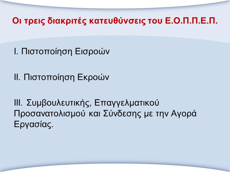 Οι τρεις διακριτές κατευθύνσεις του Ε.Ο.Π.Π.Ε.Π. Ι. Πιστοποίηση Εισροών ΙΙ. Πιστοποίηση Εκροών ΙΙΙ. Συμβουλευτικής, Επαγγελματικού Προσανατολισμού και