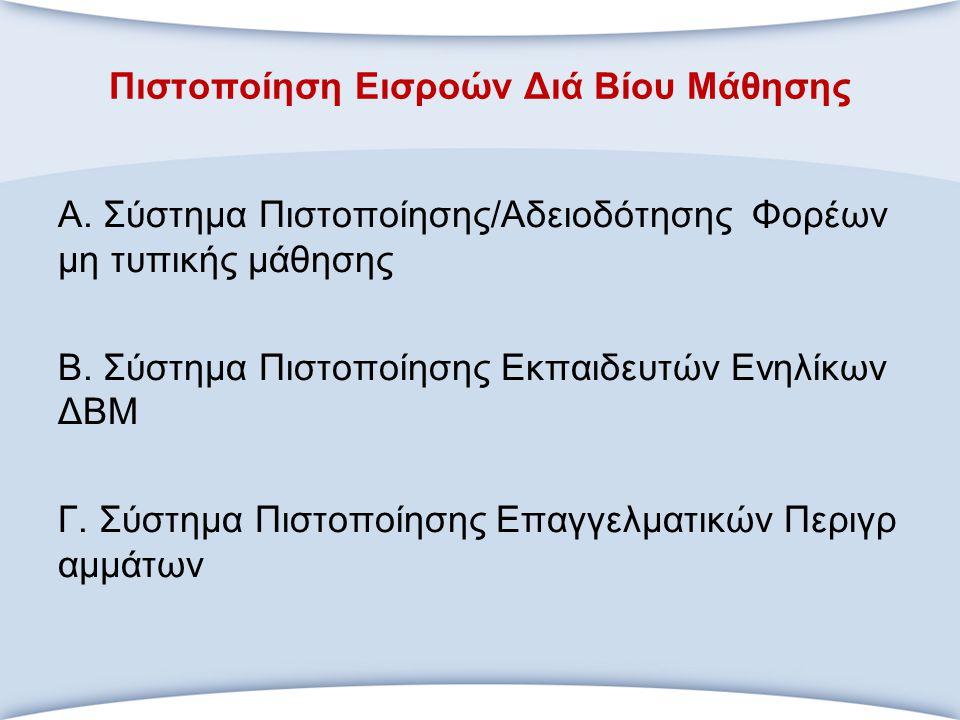Πιστοποίηση Εισροών Διά Βίου Μάθησης Α. Σύστημα Πιστοποίησης/Αδειοδότησης Φορέων μη τυπικής μάθησης Β. Σύστημα Πιστοποίησης Εκπαιδευτών Ενηλίκων ΔΒΜ Γ