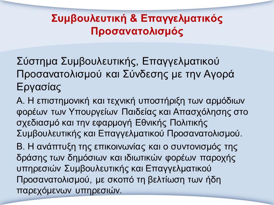 Συμβουλευτική & Επαγγελματικός Προσανατολισμός Σύστημα Συμβουλευτικής, Επαγγελματικού Προσανατολισμού και Σύνδεσης με την Αγορά Εργασίας Α. Η επιστημο