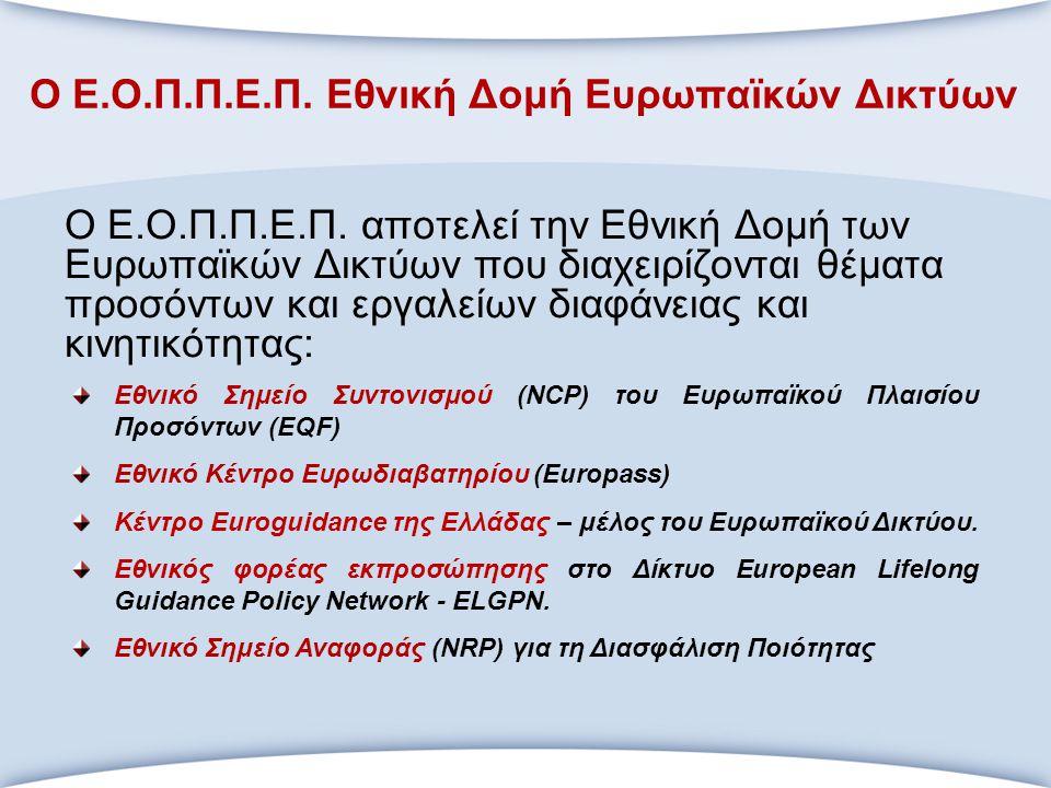 Ο Ε.Ο.Π.Π.Ε.Π. Εθνική Δομή Ευρωπαϊκών Δικτύων Ο Ε.Ο.Π.Π.Ε.Π. αποτελεί την Εθνική Δομή των Ευρωπαϊκών Δικτύων που διαχειρίζονται θέματα προσόντων και ε