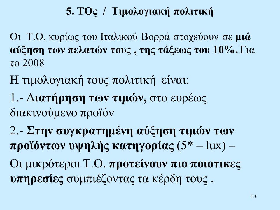 13 5. ΤΟς / Τιμολογιακή πολιτική Οι Τ.Ο.