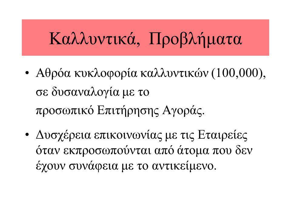 Καλλυντικά, Προβλήματα •Αθρόα κυκλοφορία καλλυντικών (100,000), σε δυσαναλογία με το προσωπικό Επιτήρησης Αγοράς. •Δυσχέρεια επικοινωνίας με τις Εταιρ