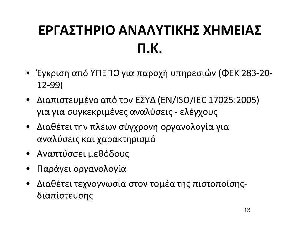 13 ΕΡΓΑΣΤΗΡΙΟ ΑΝΑΛΥΤΙΚΗΣ ΧΗΜΕΙΑΣ Π.Κ. •Έγκριση από ΥΠΕΠΘ για παροχή υπηρεσιών (ΦΕΚ 283-20- 12-99) •Διαπιστευμένο από τον ΕΣΥΔ (ΕΝ/ISO/IEC 17025:2005)