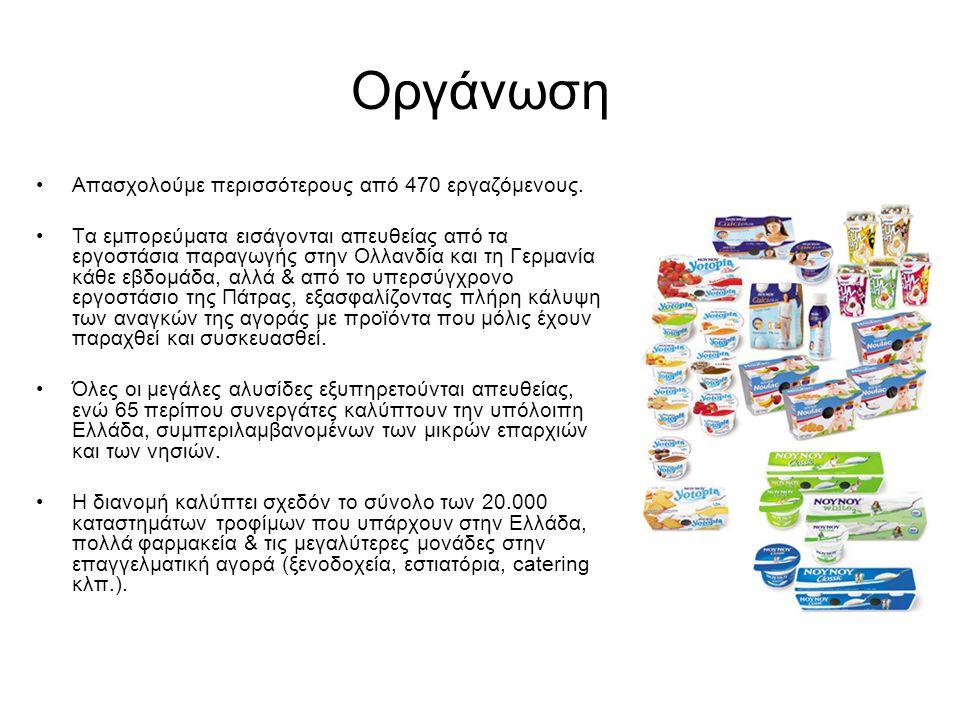 Οργάνωση •Απασχολούμε περισσότερους από 470 εργαζόμενους. •Τα εμπορεύματα εισάγονται απευθείας από τα εργοστάσια παραγωγής στην Ολλανδία και τη Γερμαν