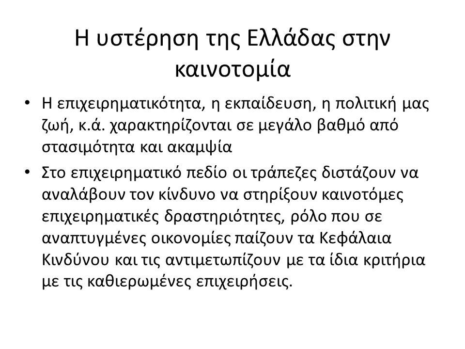 Η υστέρηση της Ελλάδας στην καινοτομία • Η επιχειρηματικότητα, η εκπαίδευση, η πολιτική μας ζωή, κ.ά.