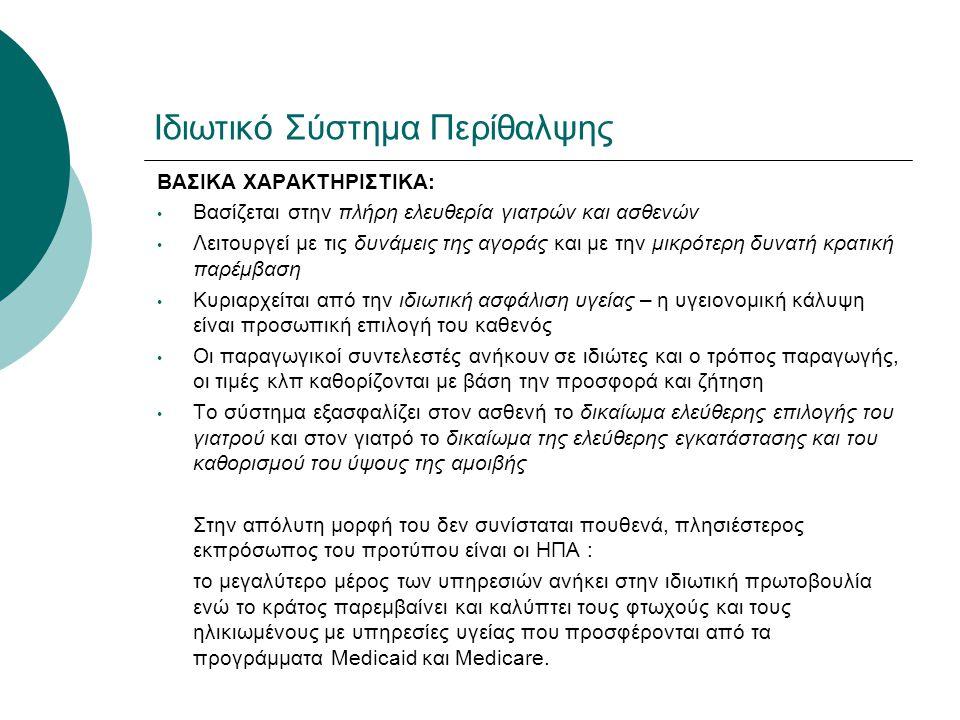 Ιδιωτικό Σύστημα Περίθαλψης ΒΑΣΙΚΑ ΧΑΡΑΚΤΗΡΙΣΤΙΚΑ: • Βασίζεται στην πλήρη ελευθερία γιατρών και ασθενών • Λειτουργεί με τις δυνάμεις της αγοράς και με