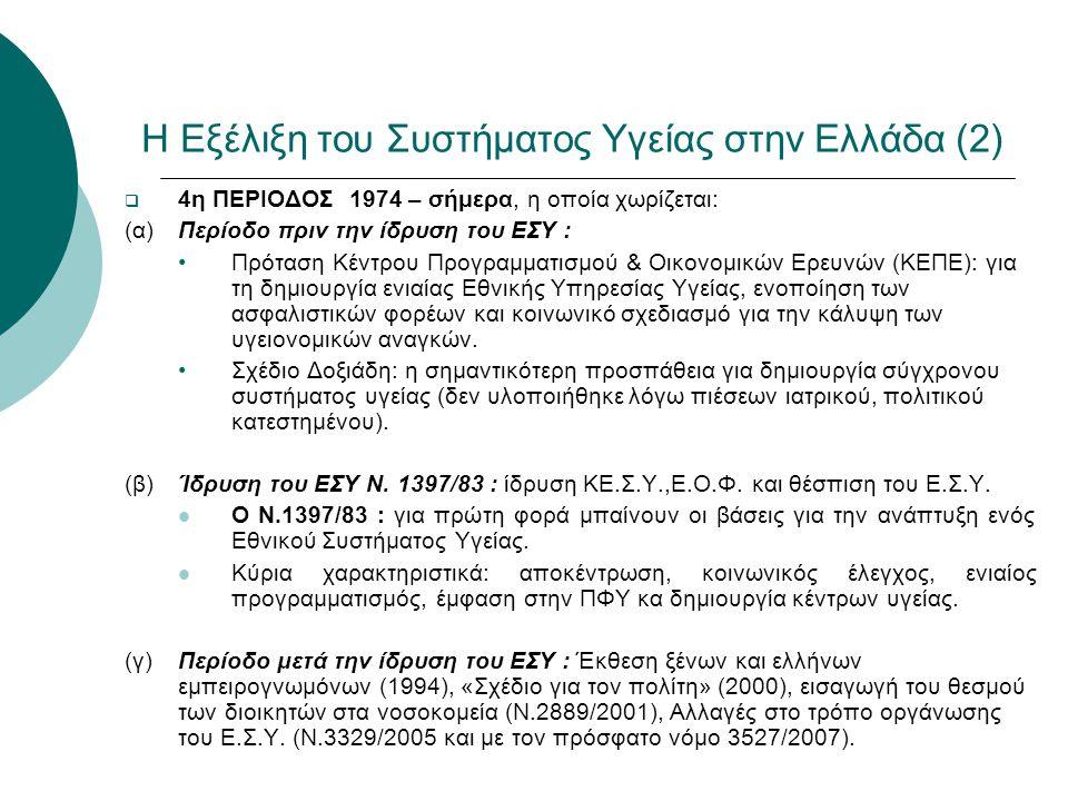 Η Εξέλιξη του Συστήματος Υγείας στην Ελλάδα (2)  4η ΠΕΡΙΟΔΟΣ 1974 – σήμερα, η οποία χωρίζεται: (α)Περίοδο πριν την ίδρυση του ΕΣΥ : •Πρόταση Κέντρου