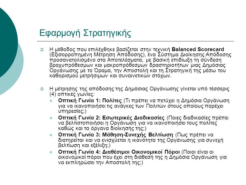 Εφαρμογή Στρατηγικής  Η μέθοδος που επιλέχθηκε βασίζεται στην τεχνική Balanced Scorecard (Εξισορροπημένη Μέτρηση Απόδοσης), ένα Σύστημα Διοίκησης Από